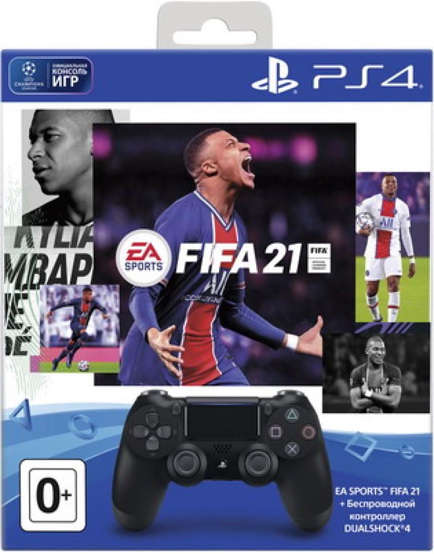 Геймпад для PS4 Dualshock 4 Black + FIFA 21